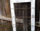 Pure White Rustic Organizer Card Holder Picture Memo Board Photo Display Message Center Reclaimed Wood & Chicken Wire
