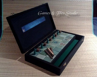 Unique handcrafted Ancient Egyptian Senet Game board in black hand painted wooden box - Made to order