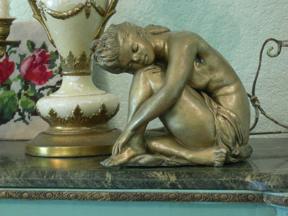 Nude Lady Woman Statue - Old Gold - SIGNED 1962 - Great Patina Shabby Chic