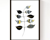 Zig Leaf (Mustard Yellow) - A4 Print