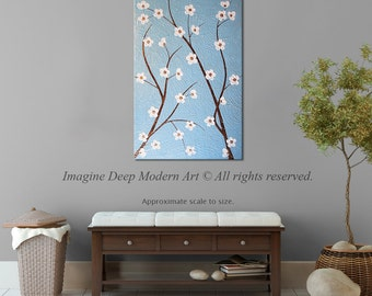 Painting Blue Flower Blossom Tree Branch Sky Pink Bronze Gold White Blossoms Large 24x36 High Quality Original Fine Art