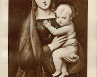 Antique Photogravure Print, The Madonna Del Granduca, 1920 of 1505 painting, Mary Jesus