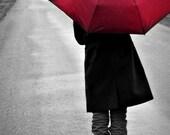 Red Umbrella Walking in Rain Photograph, Home Decor, Spring, April Showers, Original Fine Art Photograph - 5x7 Print