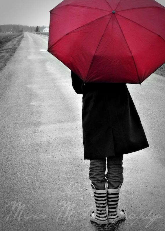 items similar to red umbrella walking in rain photograph
