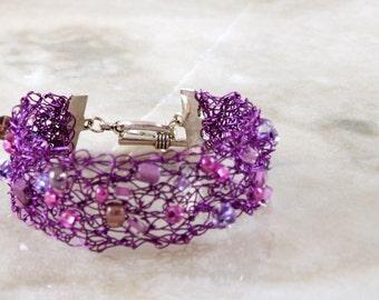 Purple Crochet Wire Beaded Bracelet