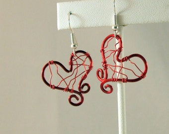 Love Wire Red Earrings