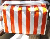 1960s Vintage Orange and White Stripe Cooler Beach Bag