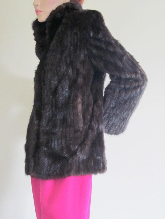 Vintage Black Mink/ 1980s Fur Coat/ Ronley Mink Jacket/ Dynasty/ Luxury Gift/ Hollywood Regency/ High Fashion/ Sable Color/ Winter Wedding