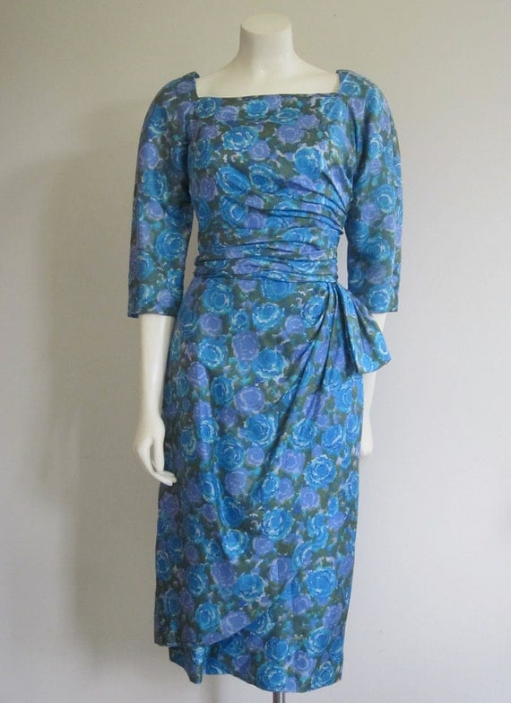 Wiggle Dress 1960s/ Milton Lippmann/ Mad Men Joan/ Blue Floral Silk/ Wedding Party/ Faux Wrap Dress/ Ruched/ Cocktail Evening/ Hip Bow