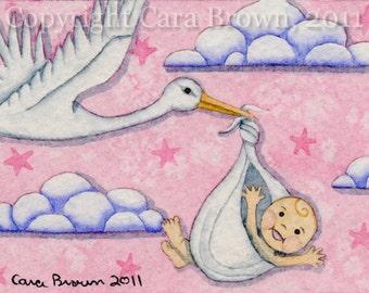 Baby Girl shower gift Stork matted fine art print pink nursery art