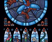 Full Size - Spiderman Stained Glass Window Print