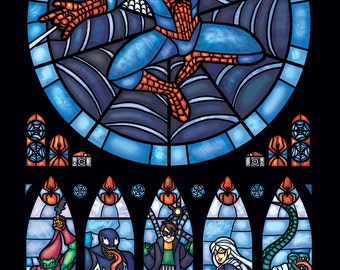 Half Size - Spiderman Stained Glass Illustration