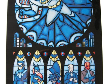 Full Size - Batman Stained Glass Illustration
