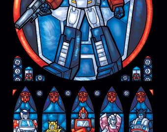 Full Size - Autobot Transformers Stained Glass Illustration