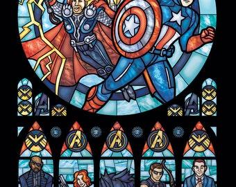 Full Size - Stained Glass Avengers Illustration