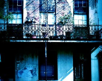 Lazy Sunday- New Orleans Art- Rustic Home- Blue Tint- Matted Photo
