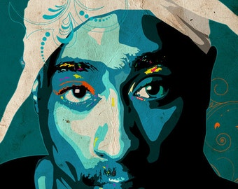 2 PAC / Tupac Shakur Art Print - Portrait