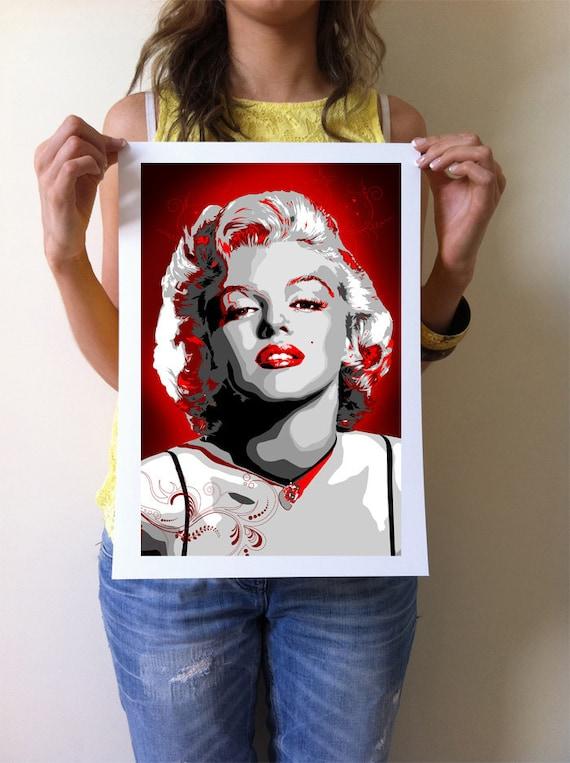 Marilyn Monroe pop art print -  movie memorabelia - Giclee, Art print home wall decor