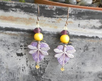 Dragonfly Earrings Purple Yellow Earrings Patina Leaf Nature