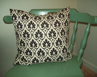 Black and White Pattern Waverly Fabric Pillow