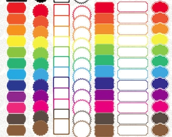 Digital Colored Label Frames Borders - Commercial Use - PNG File