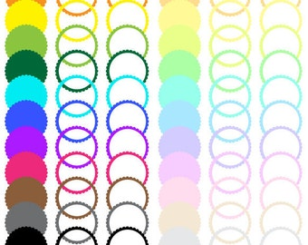 Circle Scalloped Digital Colored Label Frames Borders - Commercial Use -  72 Labels - 300 DPI - labelset012