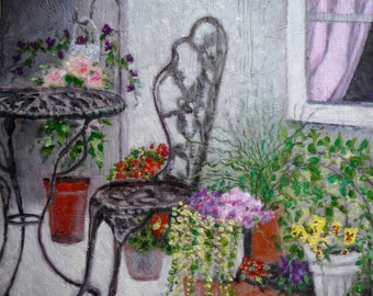 Garden Patio Oil painting on Wood