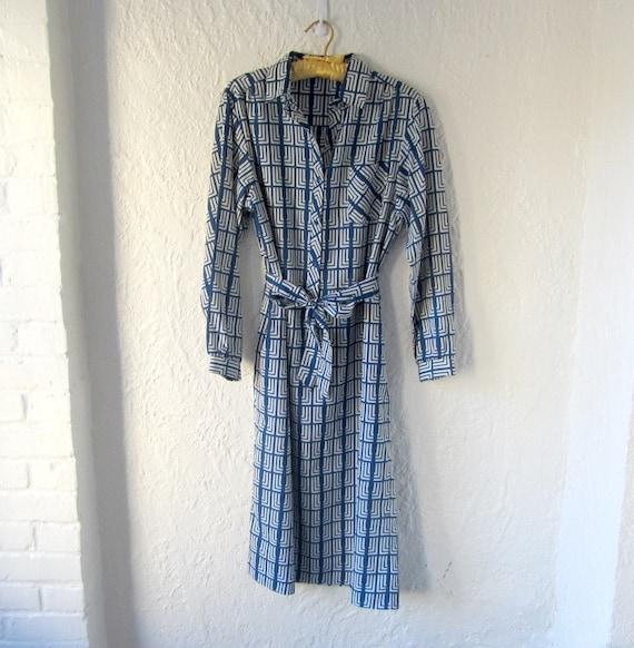 Vintage Lanvin shirtdress . 70s blue print shirt dress