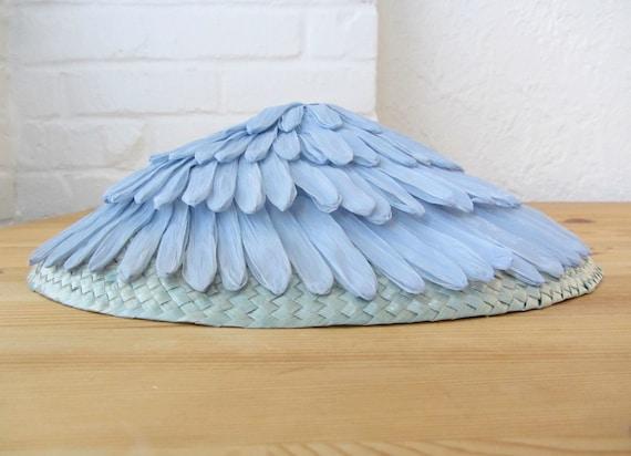 50s powder blue hat . straw and raffia vintage hat . spring hat