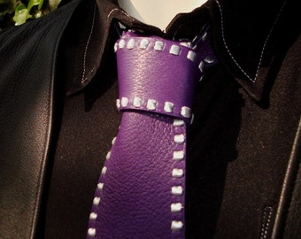 Purple Necktie | Leather Necktie | Leather Tie | Purple & Metallic Silver Leather Necktie | Badass Necktie |Rugged Necktie | Unique Neckties