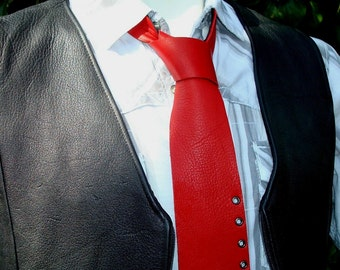 Red Tie   Red Necktie   Mens Red Tie   Mens Neckties   Unique Mens Ties   Leather Necktie   Mens Leather Tie   Groomsmen Ties   Wedding Tie