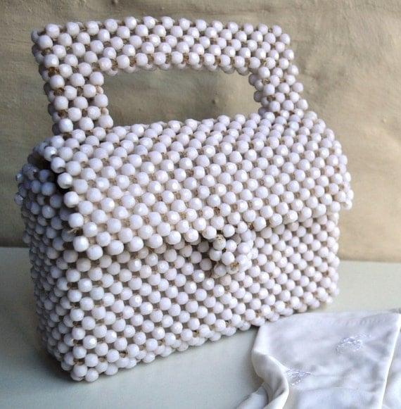 1960's HONG KONG BAG vintage white plastic bead bag purse hand bag handbag
