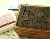 28 PCS Korean Alphabet Stamp Set (Handwritten Form) - Wooden Rubber Stamp - Diary Stamp - Capital