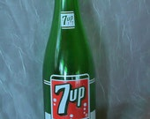 Very Cool Vintage Collectable 1970s 7UP Bottle Green Glass Vase