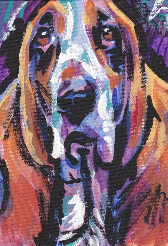 "Basset Hound art print dog pop art bright colors 13x19"" LEA"