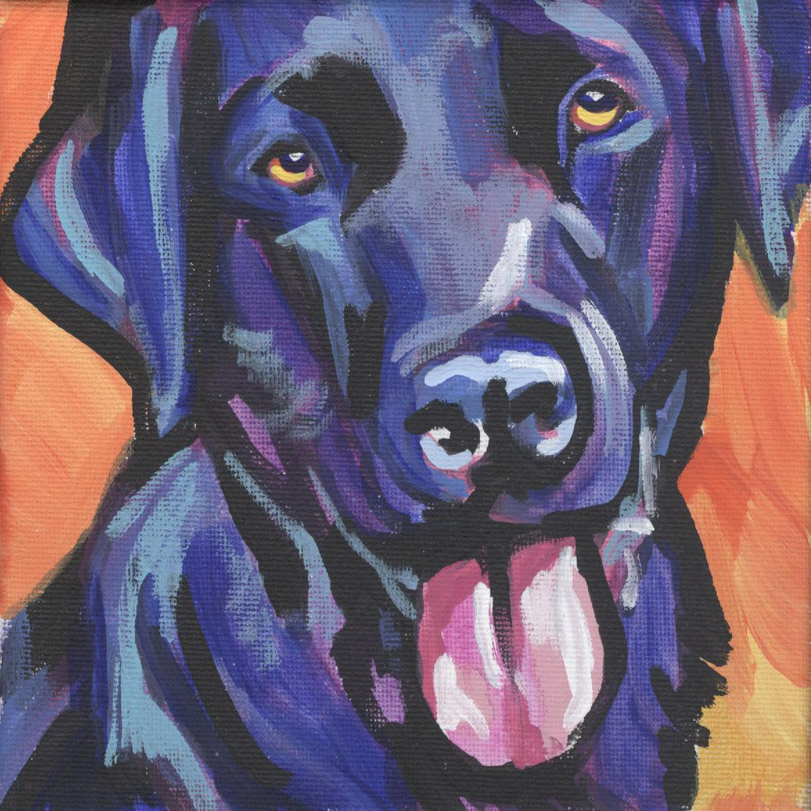Black labrador retriever modern dog art print of black lab for Dog painting artist