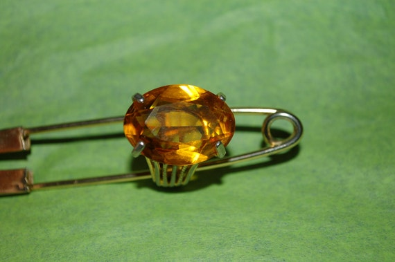 Vintage Art Deco Cocktail Ring Huge Yellow Glass Orange Stone