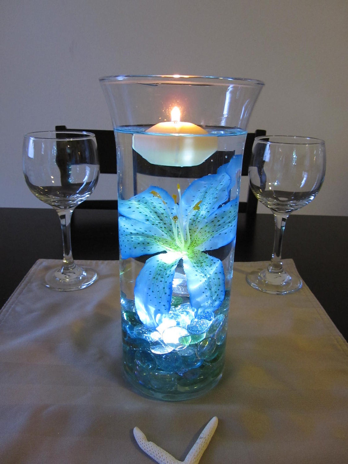 Ocean blue tiger lily wedding centerpiece kit marbles and