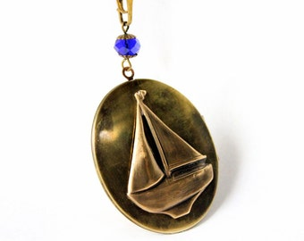 Vintage Nautical Locket Sailboat Necklace in Navy Blue & Brass
