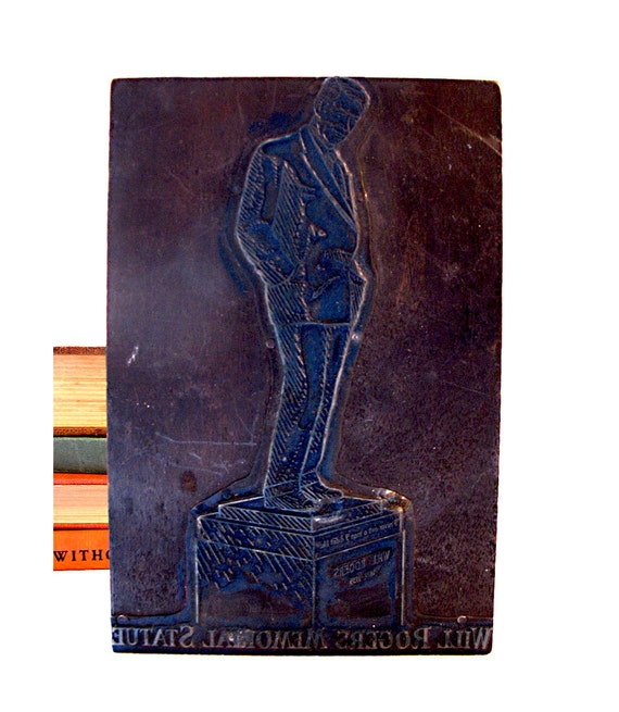 Vintage Will Rogers Memorial Statue Stamp Large Wood Block Cowboy Actor