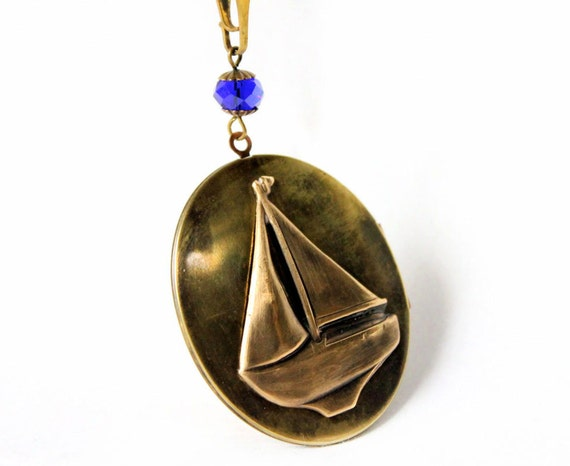 Vintage Nautical Locket Sailboat Necklace in Navy & Brass, One of a Kind