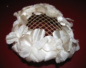 50s Hat Adorned with Creamy White Flower Petals
