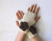 merino arm warmers cream mittens brown crocheted flower cocoa chocolate bronze button cute feminine romantic spring autumn fall gift