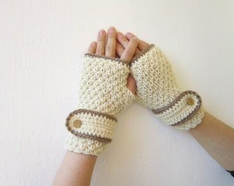 hand knitted wool mittens arm warmers fingerless gloves cream mittens caramel edge golden button