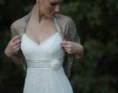 Bridal Shrug, Taupe color metallic fabric. Rustic wedding accessory, (4-options- shrug , shawl , twisted shawl and a scarf) (DL123)