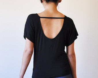Veg Clothing: Open Back Loose Black Top (Size S / M / L)