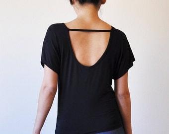 Veg Clothing: Open Back Loose Black Top (Size S / M / L)