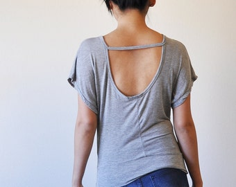 Veg Clothing: Open Back Loose Grey Top (Size S / L)