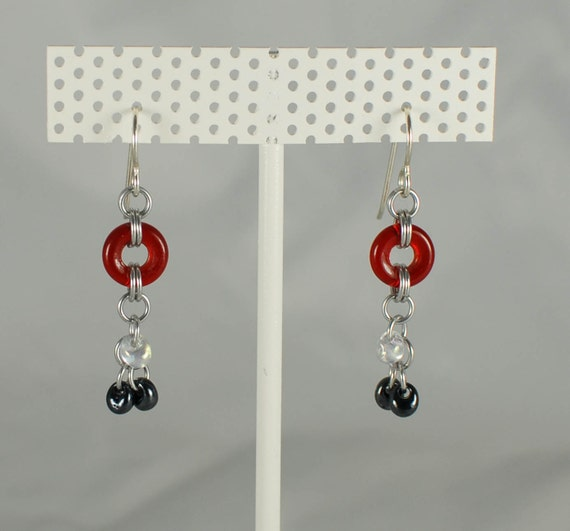 Ruby Glass and Shiny Silver Earrings - Ready to Ship