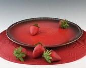 Pottery sale -  Stoneware Serving Platter in Red and Black - Appetizer Plate